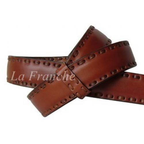 เข็มขัด Handmade สีน้ำตาลอ่อน เย็บหนัง, กว้าง 1.3 นิ้ว - code 3a00604