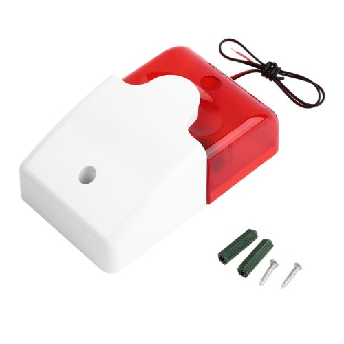 Mini siren with half strobe 12VDC 110dB ABS Housing - Red