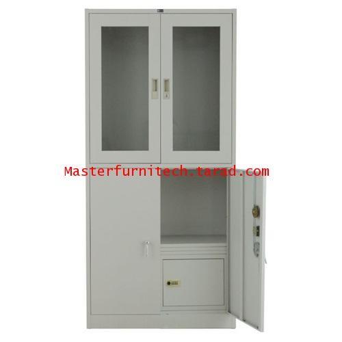 ตู้เก็บเอกสารบนบานเปิดกระจก-ล่างบานเปิดทึบ มีตู้เซฟ +ลิ้นชัก HDW-B04B