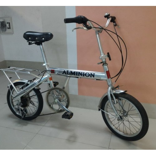 จักรยานพับ เฟรมอัลลอย สีบรอนด์เงาคล้ายสแตนเลส