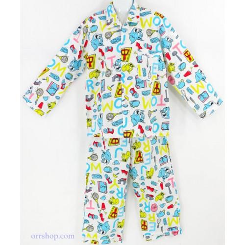 ชุดนอนเด็กชาย ไซส์ 7-9 แขนยาว ขายาว ผ้าคัตต้อน (คอปก กระดุมผ่าหน้า) ลายลิขสิทธิ์ คลิกดูลายเพิ่มเติม