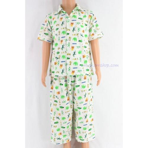 ชุดนอนเด็กชาย ไซส์ 2-3 แขนสั้น ขายาว ผ้ายืด (แบบคอปก กระดุมผ่าหน้า) คลิกดูรายละเอียดเพิ่มเติม