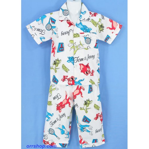 ชุดนอนเด็กชาย ไซส์ 2-3 แขนสั้น ขายาว ผ้าคัตตอน (คอปก กระดุมผ่าหน้า) ลายลิขสิทธิ์,ลายทั่วไป