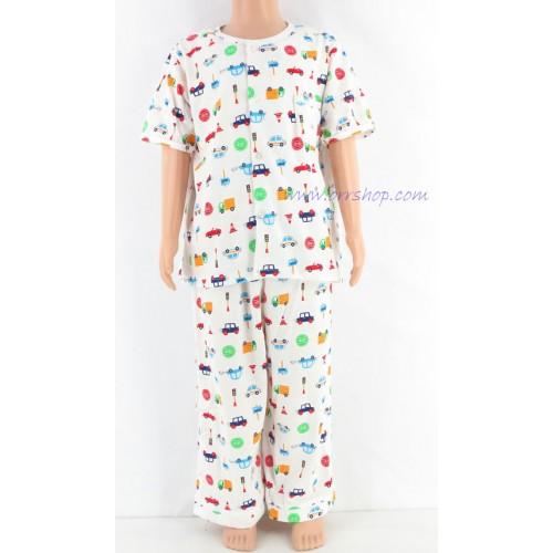 ชุดนอนเด็กชาย ไซส์ 3-4 แขนสั้น ขายาว ผ้ายืด (แบบคอกลม กระดุมผ่าหน้า)  คลิกดูรายละเอียดเพิ่มเติม