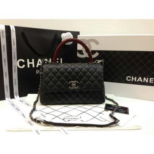 New! Chanel Small Coco  Handle Bag black caviar lizard handle ������������ ��������������������������������������������������������� 9.8 inch