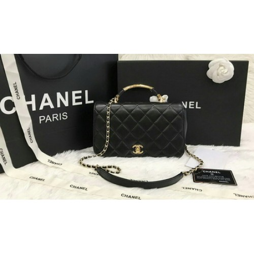 Chanel Top Handle Flap Bag Lambskin and Gold Tone Metal  ������������������������������������������������������������ 9.8 inch