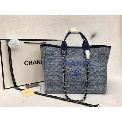 Chanel  Deauville Rare Medium Chain  Double Handle Blue Tweed Tote