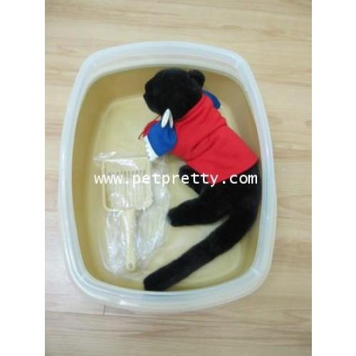 สั่งล่วงหน้า5วัน@ชุดกระบะทรายแมวแบบมีขอบถอดได้ สีน้ำตาลอ่อนมาพร้อมที่ตักอย่างดี พร้อมแท่นเสียบ