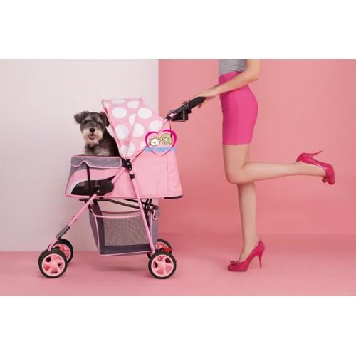 Limited Edition รถเข็นสุนัขIbiyaya รุ่นPop-ART รองรับสุนัข1-15kg (สีชมพูลายจุด)