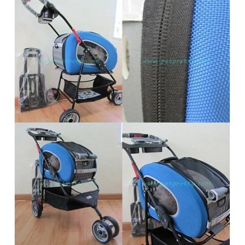 รถเข็นสุนัข Ibiyaya Pet Jogger 5in1+กระเป๋าสะพาย+ลากได้รับสุนัข8กก.(ส่งฟรี)สีน้ำเงิน