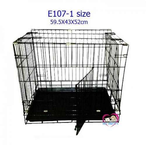 กรงสุนัข เหล็กสีดำ คอกสุนัข E107-1 ขนาด 59.5x 43x 52  cm