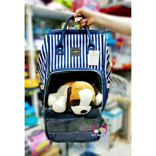กระเป๋าหมา  เป้อุ้มหมา  ทรง anello เป้หมา ลายทางสีกรม  รับได้ 6 กก