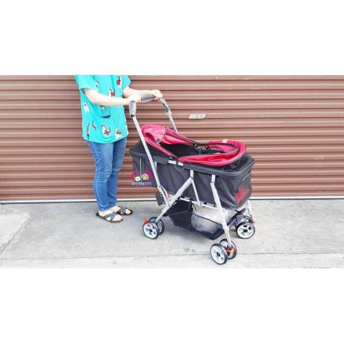 รถเข็นสุนัขคันใหญ่ รถเข็นหมา รุ่นดูโอใส่2ตัว จุ25กก ยาวพิเศษ 4 ล้อ มีสีแดงน้ำเงิน