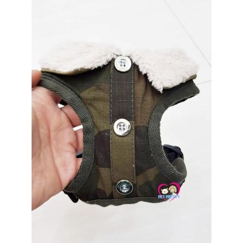 สายจูง+ชุดรัดอกสุนัข ปกขน ลายทหาร ยี่ห้อPuppe ผ้าคอตตอน ไซส์ S รอบอก 30-36เซน