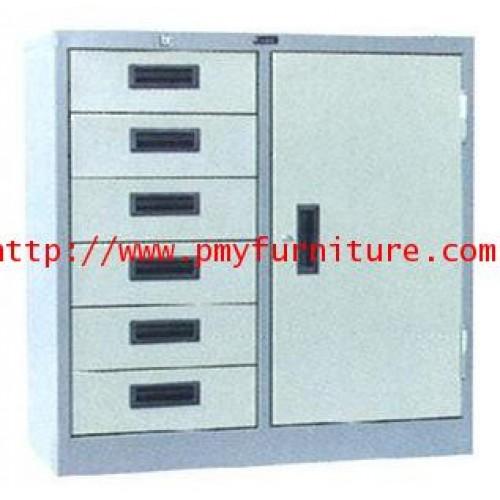 pmy8-18 ตู้เหล็ก 6 ลิ้นชัก 1 ประตู ขนาด 3 ฟุต
