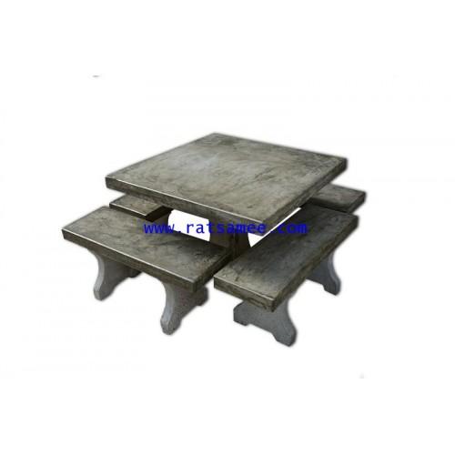 ชุดหินขัดปูนเปลือยไม่มีพนักพิง 90 cm