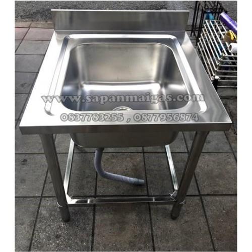 อ่างล้างจานสแตนเลส อุตสาหกรรม 1 อ่าง ลึก 25ซม (65*65ซม.)