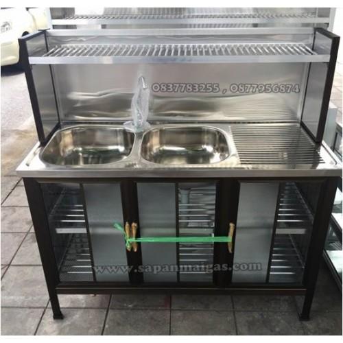 ซิ้งค์ล้างจาน 2 หลุม มีที่พัก ขนาด 1.20 เมตร แบบมีตู้และต่อบน (สีชา)