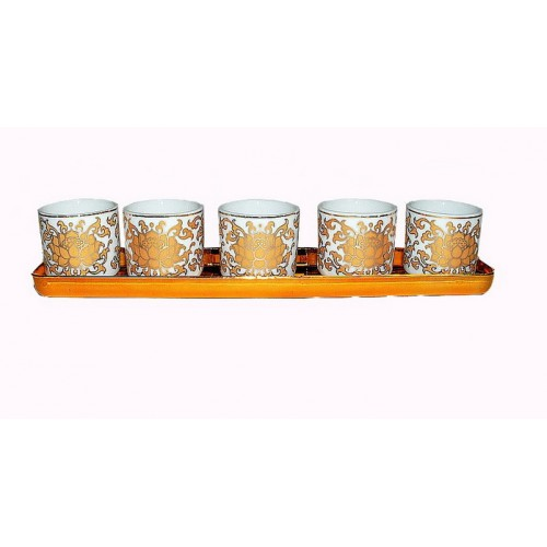 ชุดถ้วยน้ำชาเซรามิคลายดอกบัว สำหรับไหว้ 5 ใบ