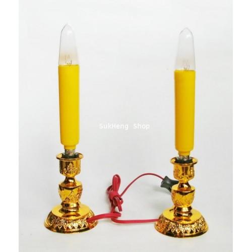เทียนไฟฟ้าสีเหลืองขนาดยาว 5 นิ้ว