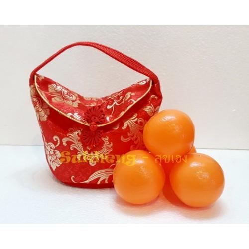ถุงส้มมงคล ผ้าต่วนลาย ทรงตะกร้า ขนาด ใส่ส้มขนาดใหญ่ 4 ผล