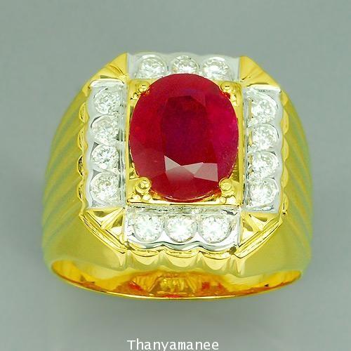 แหวนทองคำแท้ 90 พลอยทับทิม 3.15 กะรัต พร้อมเพชรแท้  0.40 สวยงาม ดีไซร์สวย เรียบหรูมากๆ