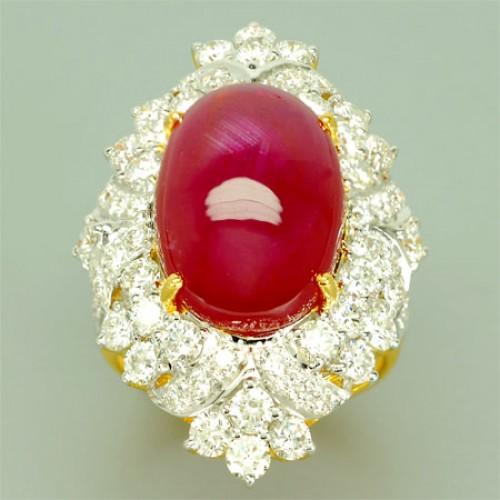 แหวนทองคำแท้ 90 พลอยทับทิมหลังเบี้ย 19.48 กะรัต เพชรเบลเยี่ยม 3.83 กะรัต สีสวย เรียบหรูมากๆ พร้อมใบร