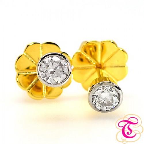 ต่างหูทองแท้ 90 ประดับพร้อมเพชรแท้เบลเยียม 0.30กะรัต สินค้ามีใบรับประกัน
