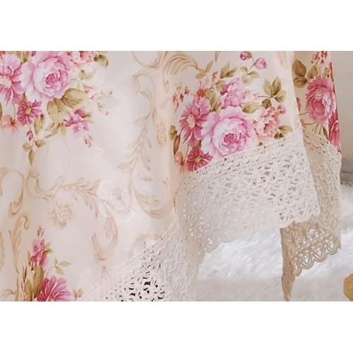 ผ้าปูโต๊ะ ลายดอกใหญ่ ขอบลูกไม้ [สินค้าพร้อมส่ง] สีม่วง ขนาด 140X190